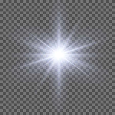 Licht helder flitseffect. Heldere gloedillustratie voor perfect effect met fonkelingen. Ster barstte. zonlicht. Stockfoto