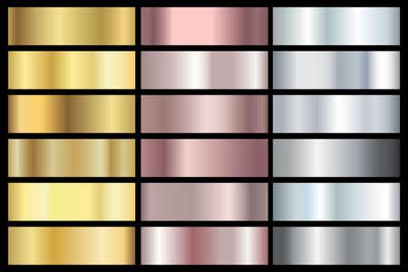 Goldener Metallgradientensatz. Gold-Chrom-Abstufung. Silber und Bronze Titan Platin glänzende Kollektion. Vektor-Illustration