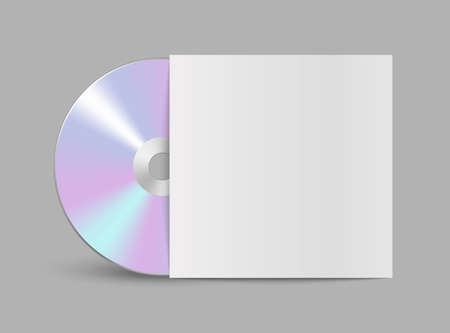 CD or DVD compact disc. Realistic vector compact disk. The CD-DVD compact disc and white empty paper case template with shadow on transparent background Vektorové ilustrace