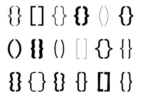 Text bracket. Vintage curly brackets symbol. Typography punctuation shapes. Vector type braces