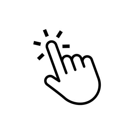 Hand click button. Mouse cursor. Web pointer press or touch website element. Vector computer navigation. Thin line icon isolater on white background.