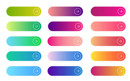 Web gradient button. Flat rectangular and rounded empty sign collection for internet navigation. Search, read more, next and continue submit buttons. Vector modern banners.