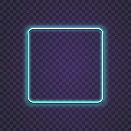 Neon square. Glow frame border. Glossy rectangle on wall. Vector neon shape. Blue light lamp. 3D luminous shine Ilustração