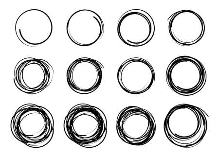 Hand drawn scribble circles set. Doodle circular  design elements. Pencil or pen graffiti bubble Ilustração