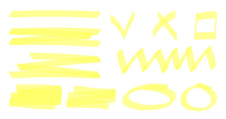 Marker highlighter elements. Color highlight stripes. Hand drawn shapes and lines. For decorations texts slideshow. Yellow arrow round line check cross