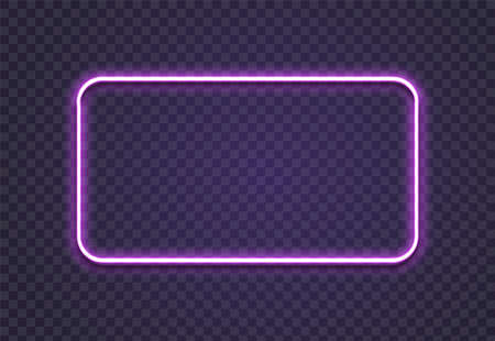 Neon rectangle. Glow frame border. Glossy rectangle on wall. Vector neon shape. Blue light lamp. 3D luminous shine.