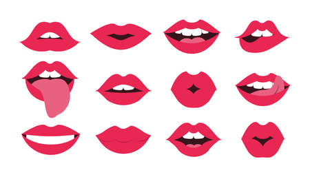 Lips kiss set. Sexy mouth smile. Female red cartoon smile. Lipstick glamour vector shape  イラスト・ベクター素材