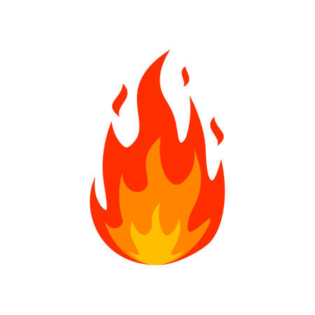 Cartoon fire flame icon. Emoticon lit fire silhouette sign. Burn fireball emblem