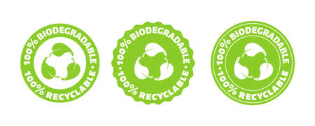 100 percent biodegradable recycle stamp. Vector reusable plastic bio package icon set. Eco sign