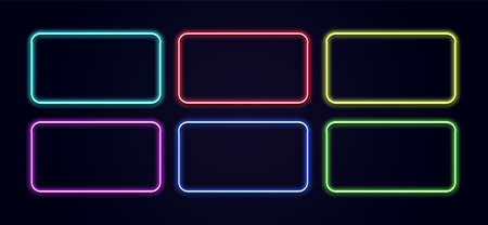 Neon rectangle. Glow frame border. Glossy rectangle on wall. Vector neon shape. Blue light lamp. 3D luminous shine