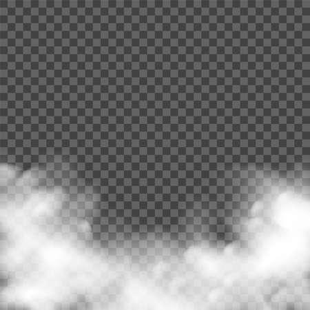 Spookt fog effect. Raelistic smoke, vector mist. Transparent smog cloud dust background