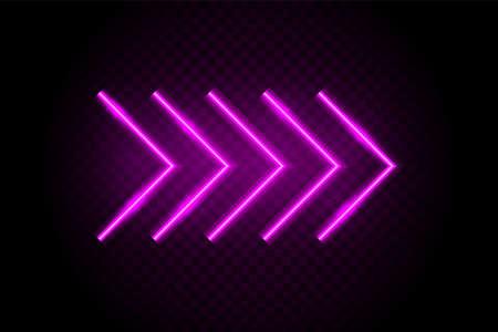 Neon arrows. Casino glow light sign. Cinema electricity decoration. Vector neon arrow. Vectores