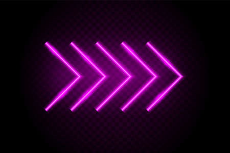 Neon arrows. Casino glow light sign. Cinema electricity decoration. Vector neon arrow. Vettoriali