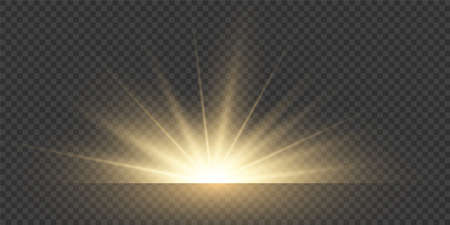 Sun light flare. Sunshine glowing effect. Vector sunrise shine.