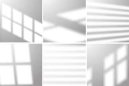 Overlay window summer light. Vector realistic sunlight mockup effect.