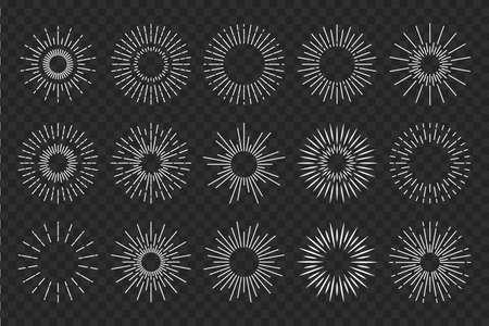 Sunburst sun ray. Vector burst sunshine . Sunrise round emblem. Sunbeam radial retro shine. Vettoriali