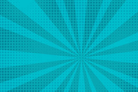 Blue comic burst background. Circle vector pop art effect. Cartoon dots energy retro illustration Vettoriali