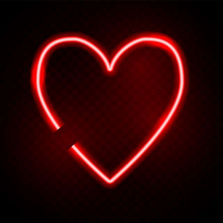 Neon heart. Vector valentine day concept. Love red light frame. Lighting romantic icon.