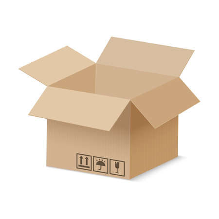 Open cardboard box. Brown vector carton delivery package. Realistic vector isolated cargo container