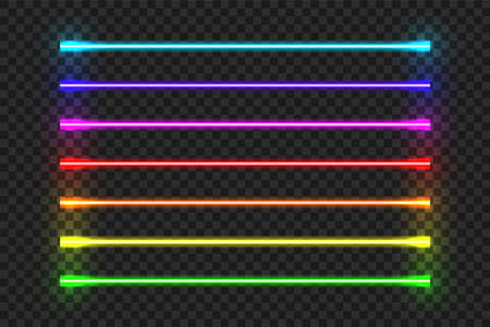 Neon tube. Light blue red color led lamp. Vector electric glowing pink yellow retro decor Ilustrace