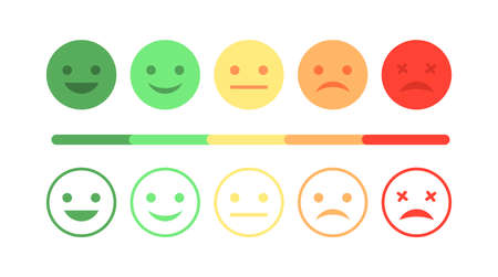 Survey rating satisfaction. Happy mood customer. Sad face feedback scale. Vector flat smiley set. Negative positive vote Ilustrace