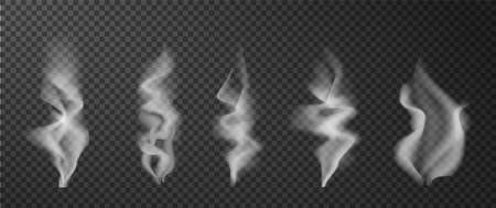 Hot smoke. Food coffee tea steam. Realistic white vapor effect. Cigarette cloud wave