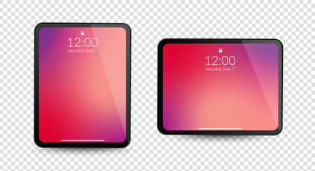Tablet computer gadgets. Horizontal and vertical screen display. Realistic black digital device mockup. Equipment vector concept on transparent background. Ilustrace
