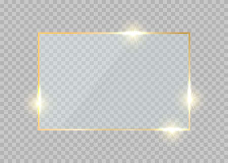 Gold glass frame. Rectangle golden glow border. Luxury vector realistic shiny button.