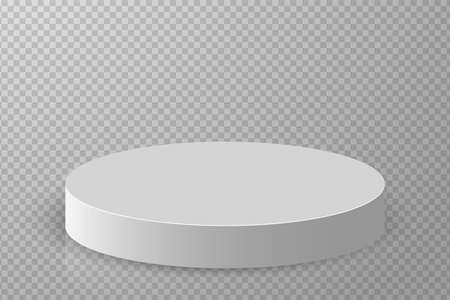 3D podium. Pedestal platform or showroom stand. White round studio stage platform. Vector empty arena. Illusztráció