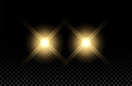 Car light effect. Headlight flare beam. Vector round train yellow flash. Auto realistic shine