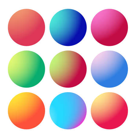 Circle gradient. Neon sphere set. Holographic round trendy multicolor buttons. Vector modern futuristic web element. Cool rounded fluids.