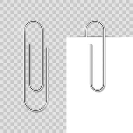 Realostic paper clip. Metal school clip with shadow. Office vector binder fix paper