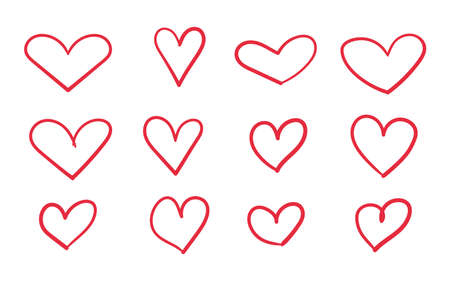 Heart doodle icon set. Hand drawn scribble hearts. Vector red love symbol sketch