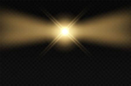 Lighthouse. Light blink effect. Lamp fog night beams. Vettoriali