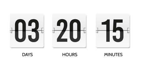 Countdown flip clock. Counter mechanical banner. Realistic scoreboard or flipboard Vectores
