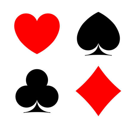 Card symbols. Pocker ace sign. Casino four silhouette. Vector illustration