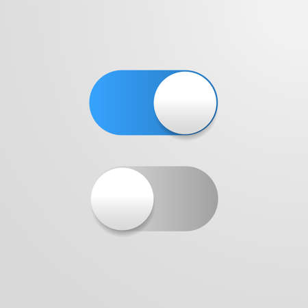 Switch off on button. Vector blue toggle mobile app. Vector power slider. Ilustrace