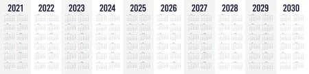 Simple calendar set for 2021 - 2030 years. Simple editable vertical vector calender