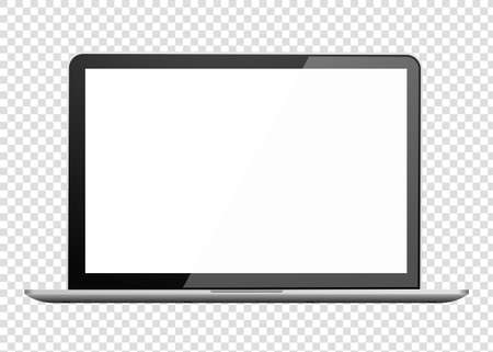 Realistic laptop front view. Notebook empty screen Ilustrace