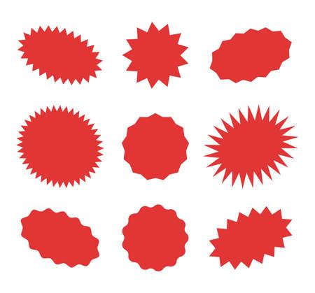 Starburst red speech bubbles, bursting sticker promo badges, sunburst promotion tag. Explosion star button vector illustration. Vettoriali