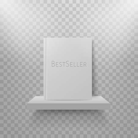 Book mockup on bookshelf. Bestsellers in hard cover on shelf. Bookstore display. Vector realistic mock up design Stock Illustratie