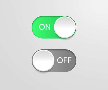 Switch off on button. Vector blue toggle mobile app. Vector power slider. Stock Illustratie