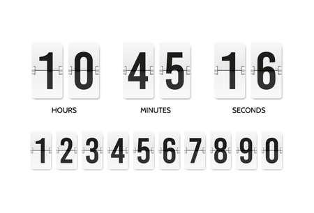 Countdown flip clock. Counter mechanical banner. Scoreboard or flipboard Vettoriali