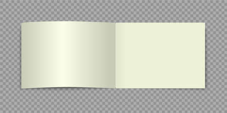 A4 brochure mockup. Blank horizontal open book. Vector realistic catalog alboom or magazine with shadow.