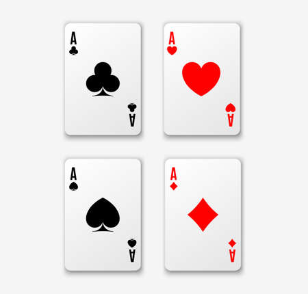 Four aces. Poker winning hand. Heart ace.