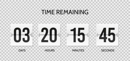Countdown flip clock. Counter mechanical banner. Realistic scoreboard or flipboard Vettoriali