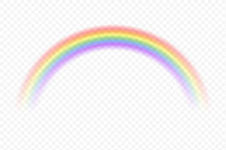 Realistic rainbow. Vector magic spectrum color after rain on transparent background