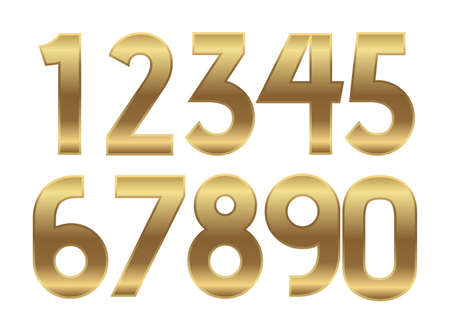 Gold numbers. Metal golden fashion alphabet. Vector realistic 123 text illustrations. Stock Illustratie
