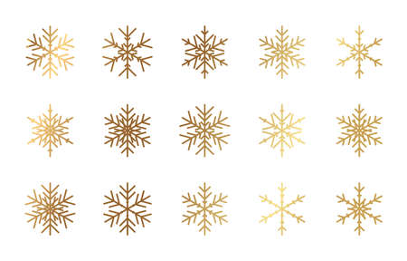Gold snowflake icon. Golden christmas snow flake. Snowstorm star vector decorations. Stock Illustratie