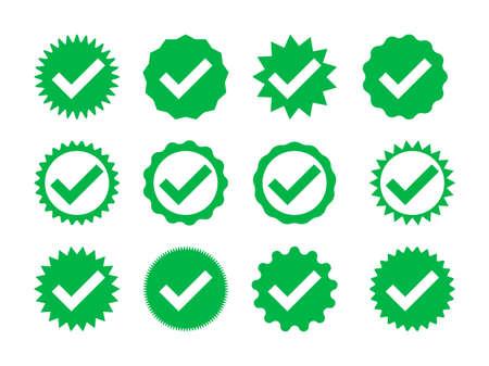 Check box badge. Checkmark icon. Vector ok right sign. Sticker with tick. Illustration